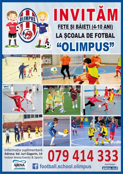Набор мальчкиов и девочек в школу футбола Olimpus